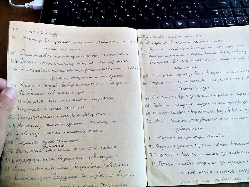 тетрадь-словарик