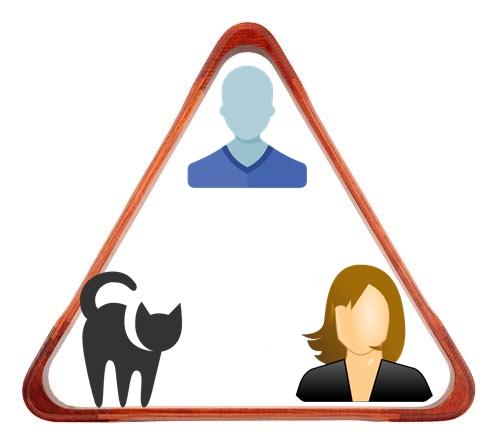Треугольник женщина-кошка-мужчина